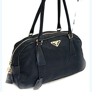 PRADA Gold Key Lock Satchel Tote Shoulder Handbag